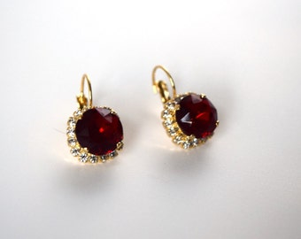 Ruby Rhinestone Earring, Red Rhinestone Earring, Ruby and Diamond, Paste Jewelry, Red Wedding Jewel, Red Crystal Jewelry, Glass Rubies,