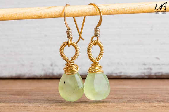 Wire Wrapped Green Prenhite Gemstone Earrings in 14K Gold Fill