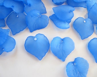 15mm ACRYLIC Leaf Charms, Beads in Frosted Light Blue, 30 Pieces, Earring Dangles, Pendants