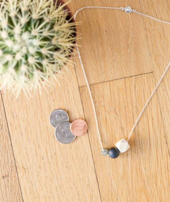 Black Agate & Gemstone Diffuser Necklace (Silver)