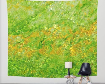 Green Wall Tapestry, Abstract Tapestry, Modern Art Tapestry, Geology Art, Nature Tapestry, Emerald Wall Art, Prismatic Pool Yellowstone