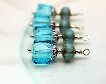 Aqua Blue Square Cube Crystal and Seafoam Blue Rondelle Earring Dangle, Pendant, Earrings, Jewelry Making
