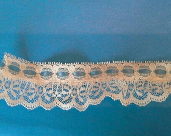 Natural Off White Ruffled Lace Beaded with Blue Ribbon Sewing Trim 2 Pieces 63/4 Yards Total by 1 1/2 Inches Wide L0668