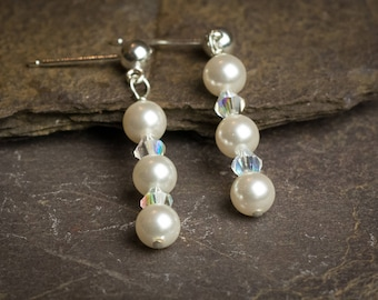 Jewellery, White swarovski pearl for brides, bridesmaids, white pearl wedding earrings, prom earring, sterling silver white pearl earring