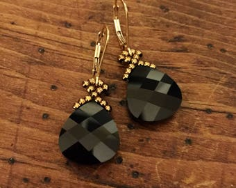 Swarovski black crystal earrings, black earrings, Swarovski crystal earrings, black sparkle earrings, bridesmaid gift, black jewelry