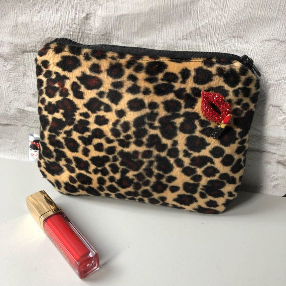Faux Fur Leopard Print Cosmetic Makeup bag Rockabilly Pinup