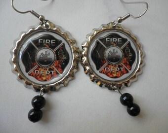 Fire Dept Earrings on flattened  Bottlecaps