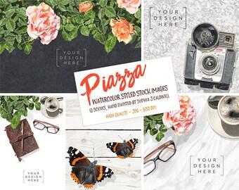 Scene Creator, Watercolor Graphics, Social Media Images, Website Banner, Instagram Template, Marketing Kit, Flatlay, Wordpress Header, Icons
