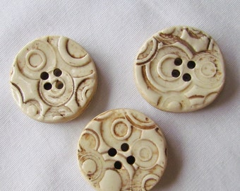 Round Cream and Brown Textured Pottery Button Set