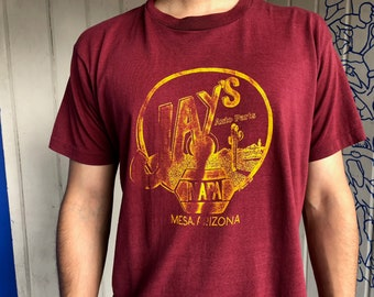 Jay's Auto Parts Mesa, Arizona Screen Stars Poly-Cotton Red and Gold T-shirt Medium Large XL, Vintage Faded and Distressed Arizona Tee Shirt