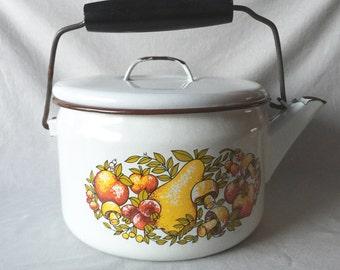 Fruit Illustrated Metal Pot // Vintage Pot // Vintage Kitchen Decor // Rustic Home Decor // Rustic Kitchen (B12)