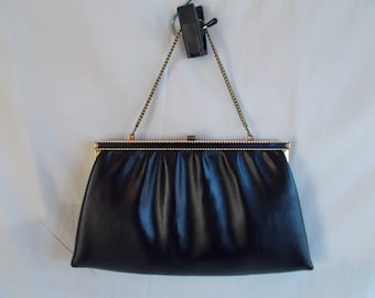 Vintage Faux Leather Black And Gold Purse