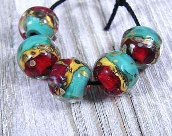 Handmade Lampwork Beads - Earring Pairs ~Rawni  ~ Boho-Earring Pairs~Bead Set