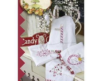 Crabapple Hill Peppermint Stick Tea Towels Stitchery Pattern  CH 432