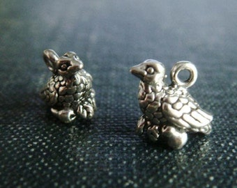 Little Partridges - Sterling Silver Holiday Charms - 2pcs, Sterling Silver Bird Charm, Silver Nesting Bird Charm, Farmhouse Hen