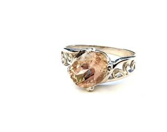 Pink Sunstone Engagement Ring - Oregon Sunstone Ring - Unique Engagement Ring - Schiller Sterling Silver - American Gemstone - Size 8.75