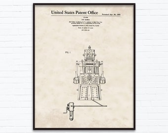 Toy Robot Patent Drawings-April Birthday Gift Ideas - Printable Posters of 4 Styles, INSTANT DOWNLOAD - 04/26/1955