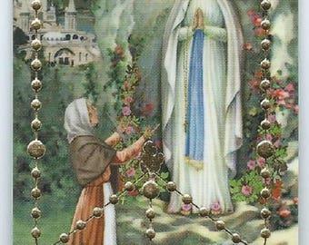 Plastic Virgin Mary N D de Lourdes Rosary mysteries pious image