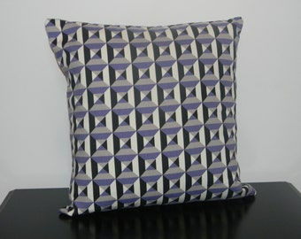 Purple and Black Geometric  pillow cover, Decorative throw  pillow, pillow cover,Teen girl gift,  Purple Pillow cover