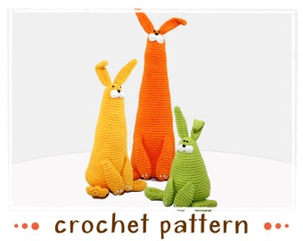 3 Bunnies - Crochet Pattern - PDF file - Amigurumi