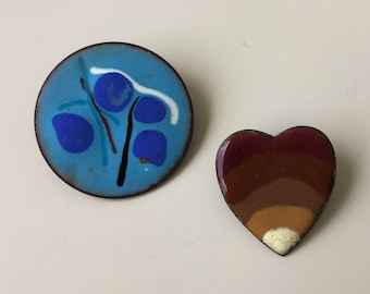 Two pc vintage hand painted artistic  brooches