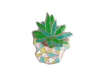 Pocket Plant, Succulent Enamel Lapel Pin - cactus geometric