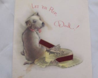 Greeting Card - Vintage Happy Birthday Wishes for Father Card Art Deco - Unused 1930's