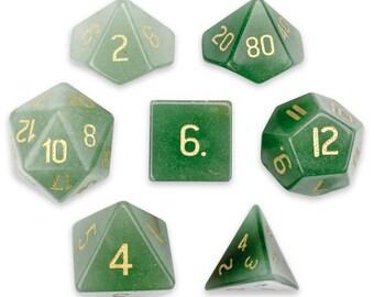Set of 7 Handmade Stone Polyhedral Dice, Aventurine