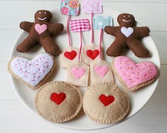 Tea for Two Felt Tea Set - Play Food Tea bag Biscuit Sugar Cookie Jam Drop & Gingerbread Felt Food Play Set, Sweet Tea Set. Original Design