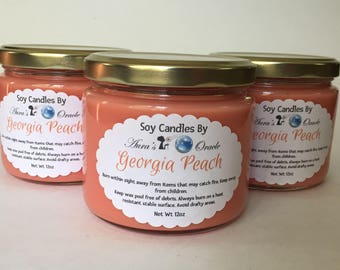 Georgia Peach 12oz Soy Wax Candle