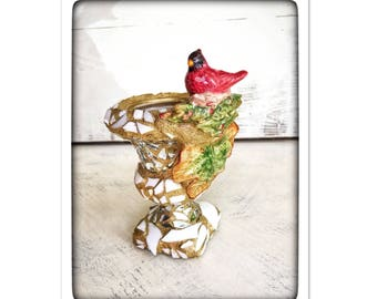 RESERVED LISTING For PATRICIA Succulent planter, small planter, mosaic, red bird decor, Cardinal, winter planter, garden gift, winter gift