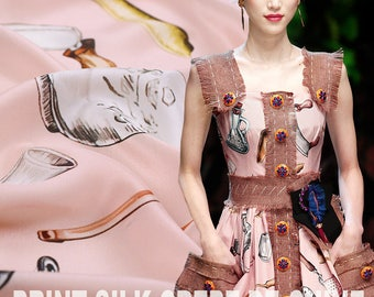 105CM 16MM Happy Lunch Pink Silk Crepe De Chine Fabric for Summer Dress Shirt E322