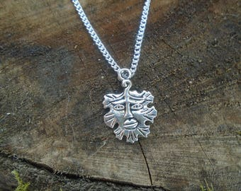 Celtic Green Man Pagan Wiccan Necklace - Silver - Handcrafted - Celtic - Gothic
