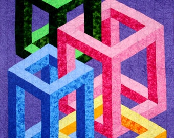 Boxed 3D dimensional quilt pattern lap wall