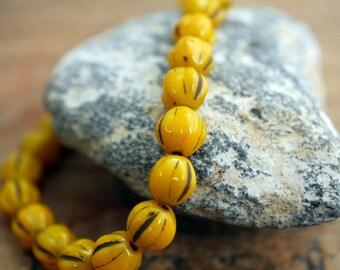Glass Beads Melon Beads 6mm Bead Mustard Yellow Beads (25)
