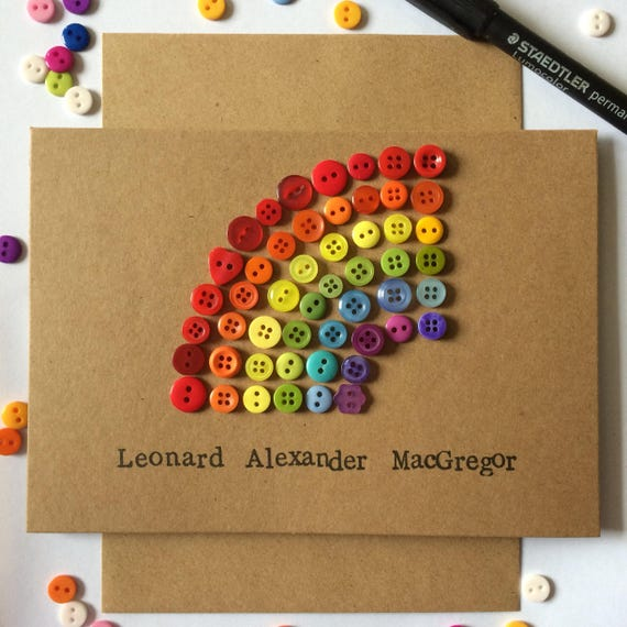 Button Rainbow Card perfect for christening, birthday, new baby, engagement, wedding and anniversary