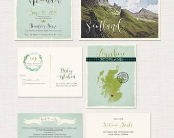 Scotland UK Destination wedding Invitation Suite Scottish  illustrated wedding invitation tartan Scotland landscape Deposit Payment