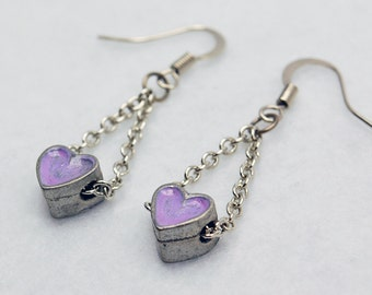 Trapeze Purple Heart Earrings in Silver - Silver Heart Earrings. Purple Earrings. Painted Trapeze Earrings. OOAK Gift. Valentine's Day Gift.