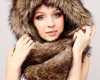 "Beast Hat ""Bear"" A, with ears, faux fur"