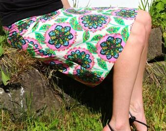 Women's A Line flower skirt, Charisma, LaRk,  Amy Butler skirt, simple a line skirt, knee length skirt, women's sizes 2-24 plus size