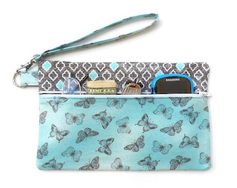 Turquoise Butterfly Print Wristlet, Front Zippered Clutch, Cell Phone Wallet, Travel Pouch, Cell Phone Clutch, Small Wrist Purse, Zipper Bag