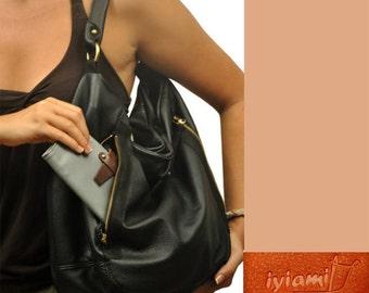 Leather women's shoulder bag, messenger , in black  color,named Vera MADE TO ORDER
