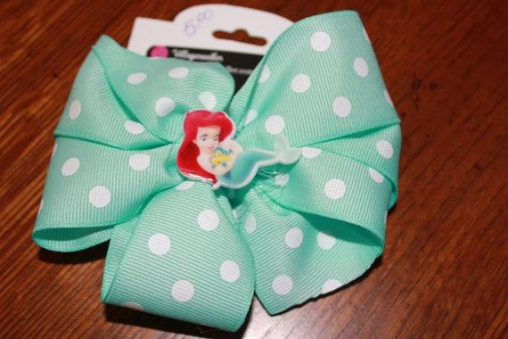 Disney Ariel Bow,Handmade Bow, Girls Disney bow, Little Mermaid bow, Baby bow, toddler Disney bow, Disney Party favor, Birthday bow