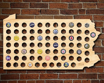 Pennsylvania Beer Cap Map - Engravable! - Bottle Cap Holder Creates Cool Beer Art! - Collect You Weyerbacher and Yard's Brewing Caps