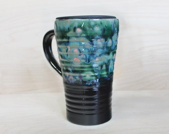 Ceramic Travel Mug - Pond Lily (with handle and lid)
