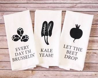 Set of 3 / Flour Sack Towel / Song Lyric Towel / Gift Idea / Gift for Mom / Dish Towel / Unique Gift / Hostess Gift / Housewarming