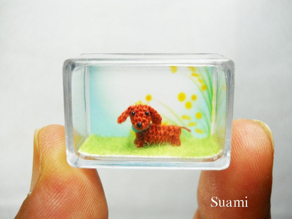Extrem kleine Dackel Dackel Micro gehäkelt Hund auf