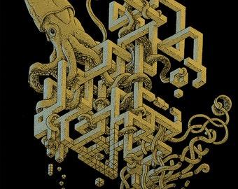 Giant Squid Art - 11x14 Surreal Art - Optical Illusion - Surrealism - Octopus Print - Cool Art - Weird Art - Strange