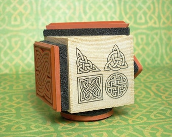 Celtic Knot Rubber Stamp Cube #2 Four Outline Designs on One Mounting #L1001