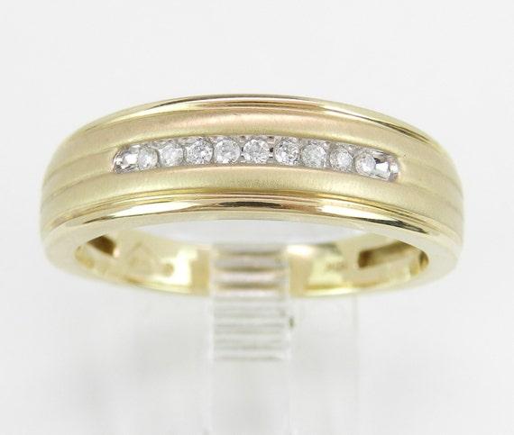 Mens Diamond Wedding Ring Anniversary Band Yellow Gold Size 10.25